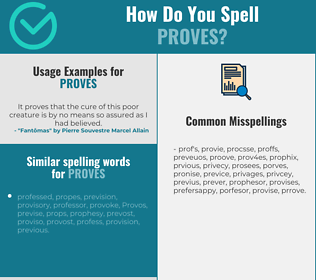 Correct spelling for proves