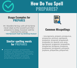 Correct spelling for prepares