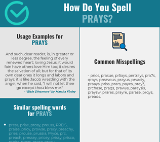 Correct spelling for prays