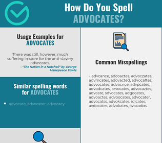 Correct spelling for advocates