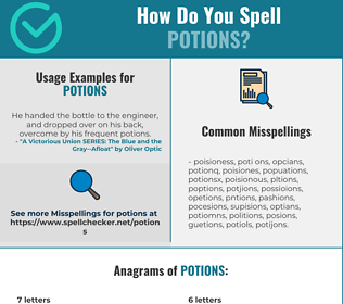 Correct spelling for potions
