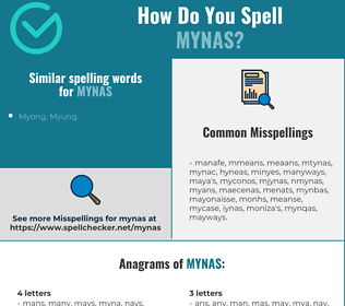 Correct spelling for mynas
