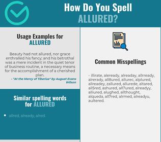 Correct spelling for allured