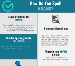Correct spelling for roams