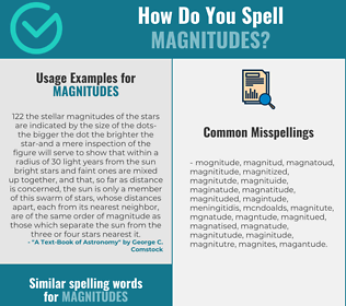 Correct spelling for magnitudes