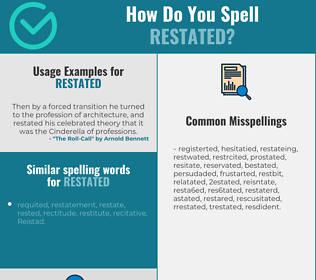 Correct spelling for restated