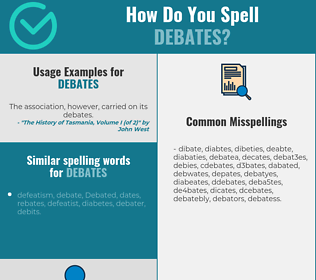 Correct spelling for debates