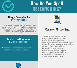 Correct spelling for researching