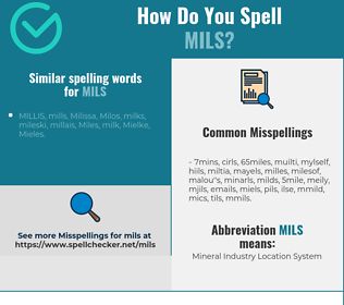 Correct spelling for mils
