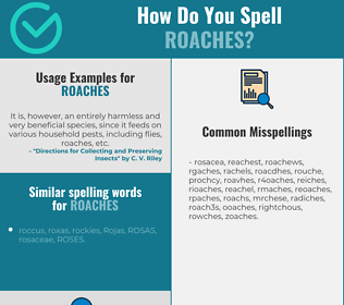 Correct spelling for roaches