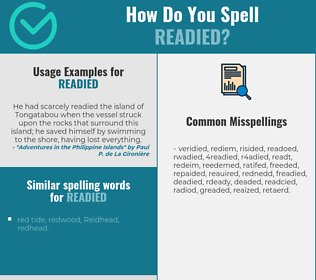 Correct spelling for readied