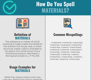 Correct spelling for materials