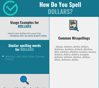 Correct spelling for dollars