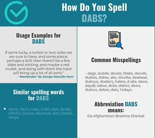 Correct spelling for dabs