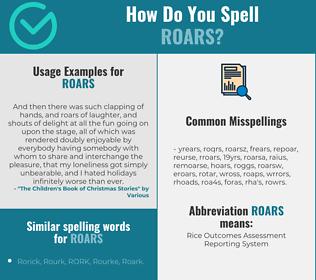 Correct spelling for roars