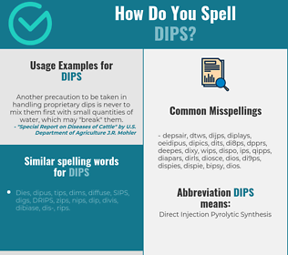 Correct spelling for dips
