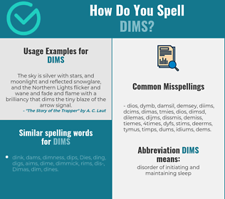 Correct spelling for dims