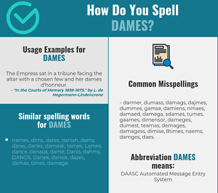 Correct spelling for dames