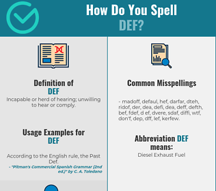 Correct spelling for DEF