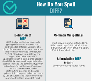 Correct spelling for DIFF