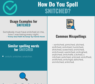 Correct spelling for snitched