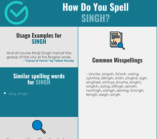 Correct spelling for Singh