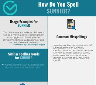 Correct spelling for sunnier
