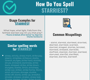 Correct spelling for starriest