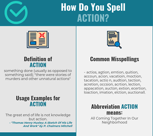 Correct spelling for action