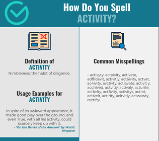 Correct spelling for activity
