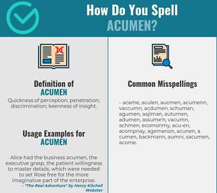 Correct spelling for acumen