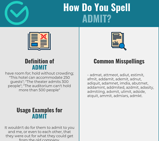 Correct spelling for admit