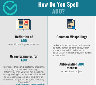 Correct spelling for ado