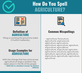 Correct spelling for agriculture