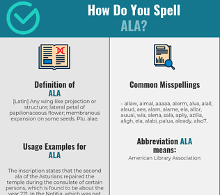 Correct spelling for ala