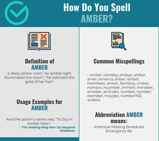 Correct spelling for amber