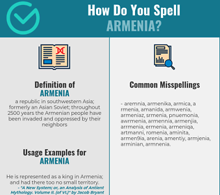 Correct spelling for armenia