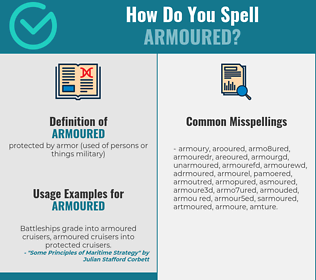 Correct spelling for armoured