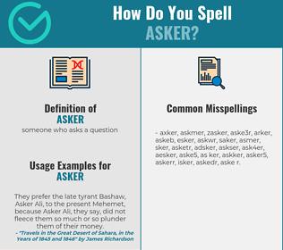 Correct spelling for asker