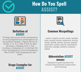 Correct spelling for assist