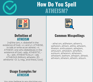 Correct spelling for atheism