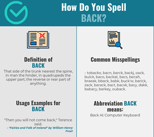 Correct spelling for back