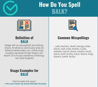 Correct spelling for balk