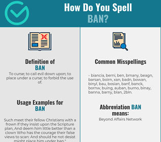 Correct spelling for ban