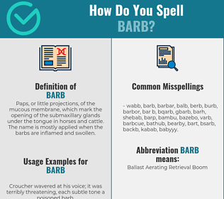Correct spelling for barb
