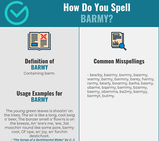 Correct spelling for barmy
