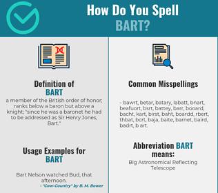 Correct spelling for bart