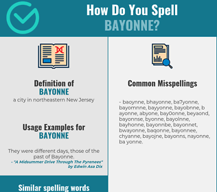 Correct spelling for bayonne