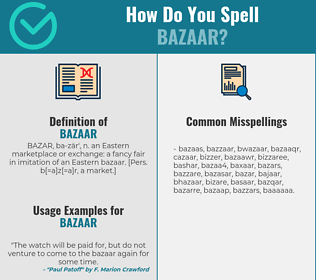 Correct spelling for bazaar