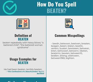Correct spelling for beaten